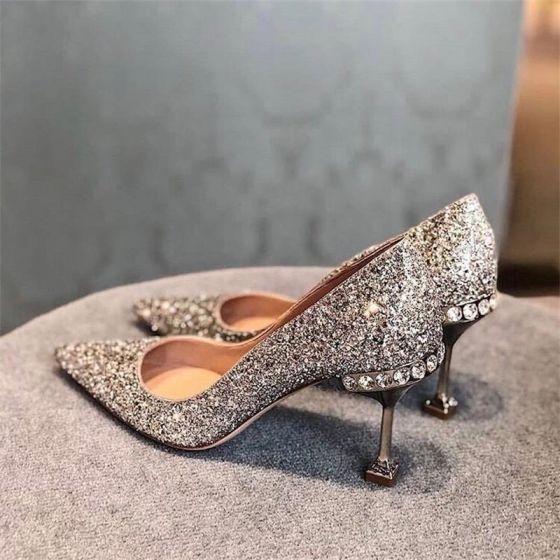 Sparkly Sølv Paljetter Brudesko 2020 Lær Rhinestone 8 cm Stiletthæler Spisse Bryllup Pumps