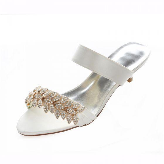 Ivoire Sandales De Mariée Chaussuresde Mariage 4 Cm Talon Aiguille