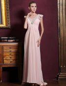 Elegant Tiefem V-ausschnitt Rüsche Rosa Chiffon Maxi Abendkleid Mit Pailletten