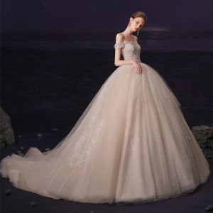 Luxury / Gorgeous Champagne Bridal Wedding Dresses 2020 Ball Gown Off-The-Shoulder Short Sleeve Backless Checked Tulle Appliques Lace Beading Chapel Train