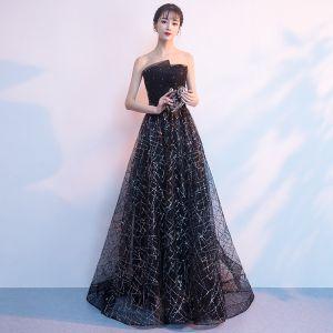 Bling Bling Noire Robe De Soirée 2018 Princesse Bustier Sans Manches Glitter Paillettes Faux Diamant Train De Balayage Volants Dos Nu Robe De Ceremonie