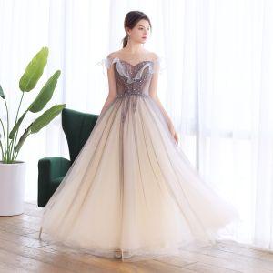 Élégant Marron Dansant Robe De Bal 2020 Princesse Transparentes Encolure Carrée Sans Manches Perlage Glitter Tulle Longue Volants Dos Nu Robe De Ceremonie