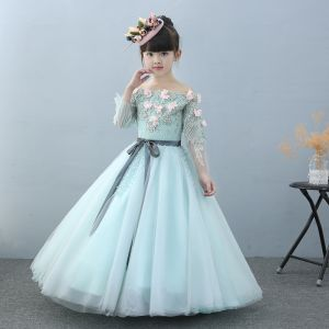 Chic / Beautiful Church Wedding Party Dresses 2017 Flower Girl Dresses Sky Blue Ball Gown Floor-Length / Long Off-The-Shoulder Long Sleeve Flower Appliques Beading Pearl