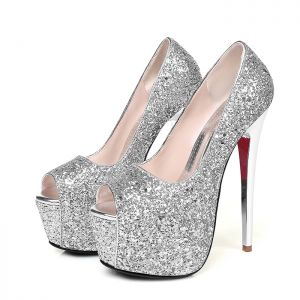 Sparkly Prom Pumps 2017 Glitter Platform Open / Peep Toe High Heel
