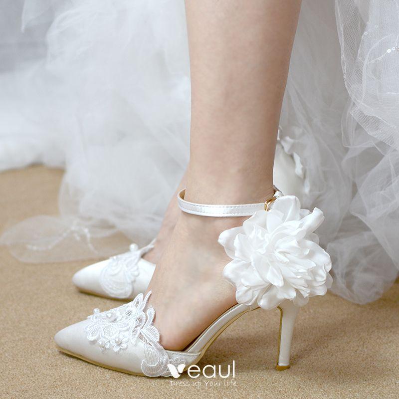 0b2b6243fbb9b1 Chic / Belle Ivoire Chaussure De Mariée 2019 Appliques Bride Cheville En  Dentelle Fleur Perle 6 cm Talons Aiguilles À Bout ...