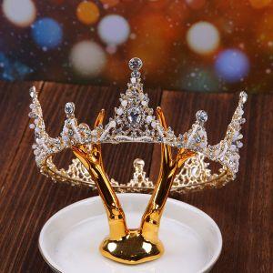 Mooie / Prachtige Goud Bruidssieraden 2020 Metaal Kralen Rhinestone Tiara Oorbellen Nek Ketting Huwelijk Accessoires