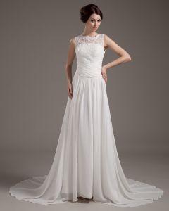 Satin Spitze Applique Sweep Mantel Brautkleider Hochzeitskleid