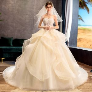 Luxury / Gorgeous Champagne Wedding Dresses 2019 Ball Gown Sweetheart Beading Sequins Lace Flower Sleeveless Backless Cascading Ruffles Chapel Train