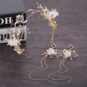 Flower Fairy Gold Bridal Jewelry 2019 Metal Pearl Crystal Flower Rhinestone Headpieces Tassel Earrings Wedding Accessories