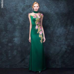 Kinesisk Stil Mørkegrøn Pierced Selskabskjoler 2018 Havfrue Høj Hals Ærmeløs Broderet Rhinestone Lange Kjoler