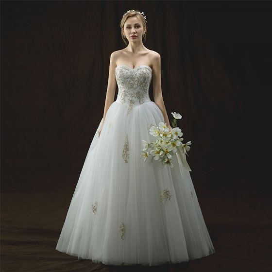 Chic / Beautiful Ivory Wedding Dresses 2018 A-Line / Princess Sweetheart Sleeveless Backless Gold Appliques Lace Sequins Pearl Floor-Length / Long Ruffle