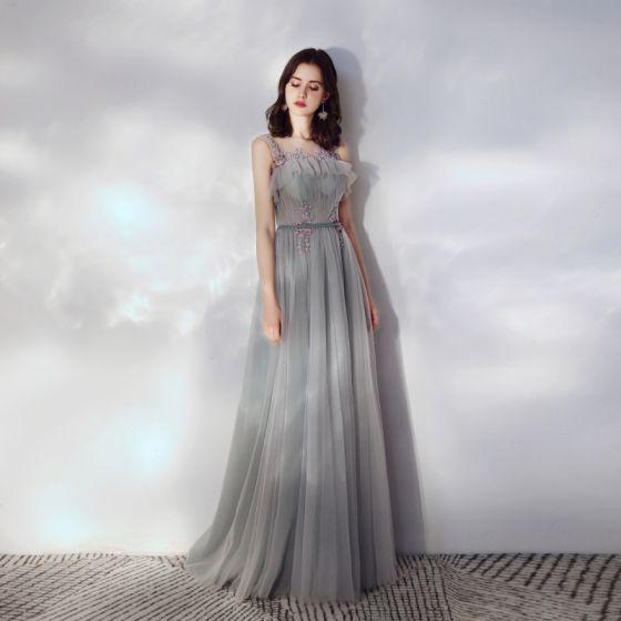 Eleganta Grå Aftonklänningar 2019 Prinsessa Ruffle Urringning Beading Spets Blomma Ärmlös Halterneck Långa Formella Klänningar