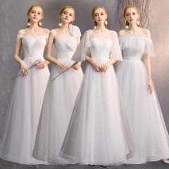 Affordable Ivory Bridesmaid Dresses 2019 A-Line / Princess Floor-Length / Long Ruffle Backless Wedding Party Dresses
