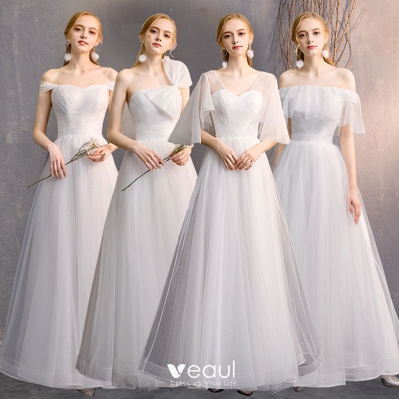 Affordable Ivory Bridesmaid Dresses 2019 A Line Princess Floor Length Long Ruffle Backless Wedding Party Dresses