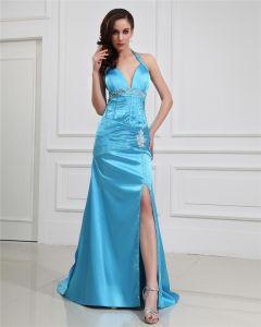 Mantel Halfter V-ausschnitt Empire-taille Bodenlangen Abendkleid