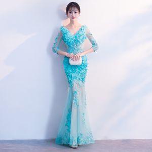 Mode Blau Durchsichtige Sommer Abendkleider 2018 Meerjungfrau V-Ausschnitt 3/4 Ärmel Spitze Applikationen Blumen Perle Lange Rüschen Rückenfreies Festliche Kleider
