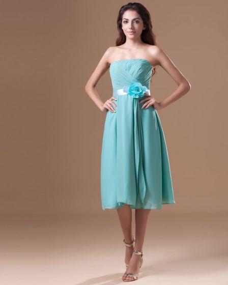 Chiffon Ruffle Flower Strapless Tea Length Pleated Bridesmaid Dress