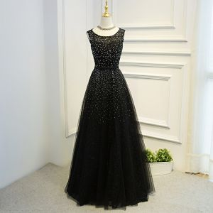Amazing / Unique Black Formal Dresses 2017 A-Line / Princess Lace Flower Bow Sequins Backless Scoop Neck Short Sleeve Floor-Length / Long Evening Dresses