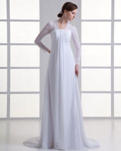 Chiffon Rüschen V-ausschnitt Hofzug Reich Hochzeitskleid