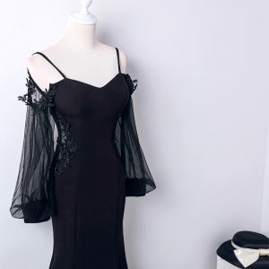 Affordable Black See-through Evening Dresses  2019 Trumpet / Mermaid Spaghetti Straps Puffy Long Sleeve Appliques Lace Floor-Length / Long Backless Formal Dresses