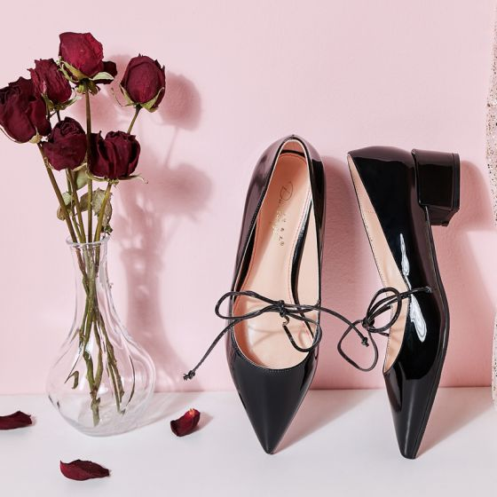 Lovely Black Dating Womens Shoes 2019 Patent Leather Bow 4 cm Thick Heels Pointed Toe Low Heels / Kitten Heels Pumps