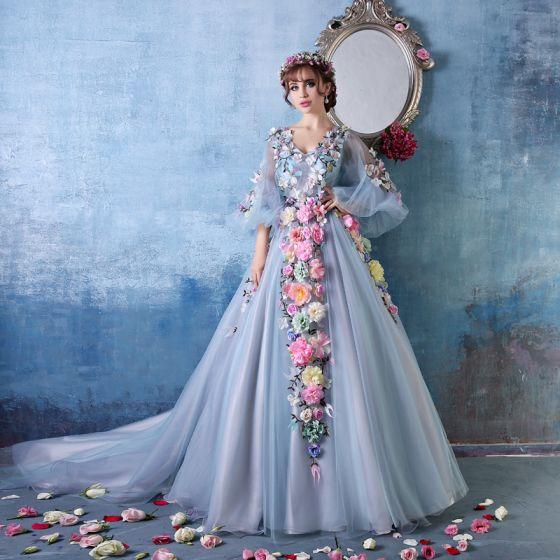 Fargerik Blomst Fairy A-linje Skuldre V-hals Håndlagde Blomster Organza Ballkjole / Selskapskjoler