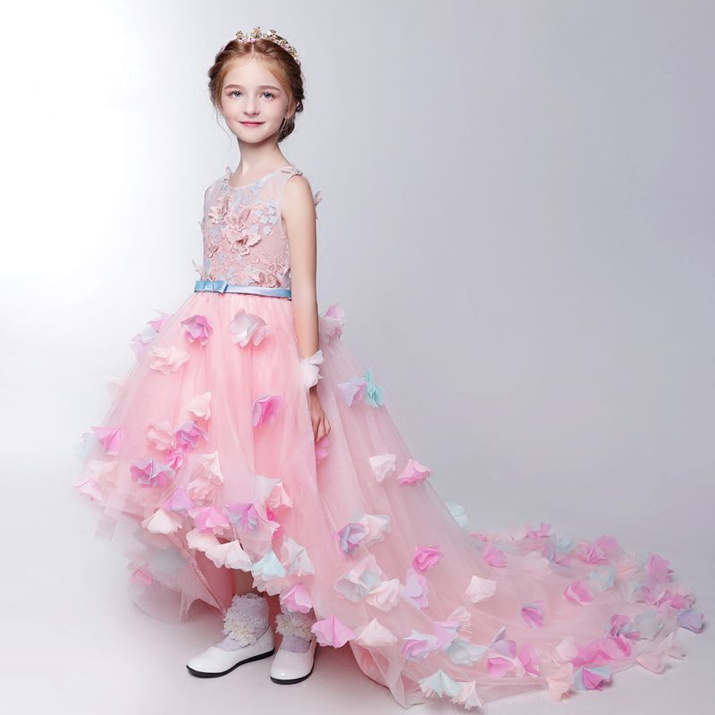 Chic / Beautiful Church Wedding Party Dresses 2017 Flower Girl Dresses Blushing Pink Asymmetrical Ball Gown Scoop Neck Backless Heart-shaped Sleeveless Sash Flower Butterfly Appliques