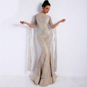 Vintage Srebrny Sukienki Wieczorowe 2020 Syrena / Rozkloszowane Wysokiej Szyi Długie Rękawy Aplikacje Cekiny Cekinami Długie Wzburzyć Sukienki Wizytowe
