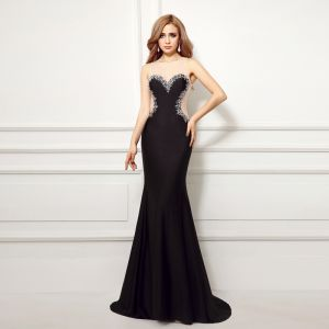 Sexy Black Evening Dresses  2017 Trumpet / Mermaid Scoop Neck Sleeveless Appliques Lace Pearl Court Train Backless Pierced Formal Dresses