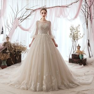 Luxury / Gorgeous Champagne Wedding Dresses 2019 A-Line / Princess Scoop Neck Beading Lace Flower 3/4 Sleeve Backless Cathedral Train