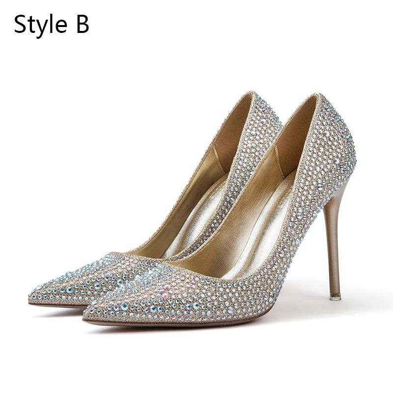 Charming Silver Wedding Shoes 2019 Leather Rhinestone Bow 10 cm Stiletto Heels Pointed Toe Wedding Pumps