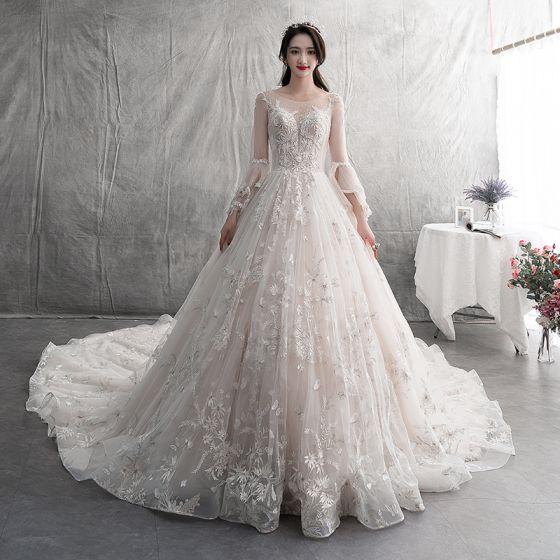 Stylowe Modne Szampan Suknie ślubne 2019 Princessa Wycięciem Z