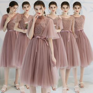 Affordable Pearl Pink Bridesmaid Dresses 2019 A-Line / Princess Appliques Lace Bow Sash Tea-length Ruffle Backless Wedding Party Dresses