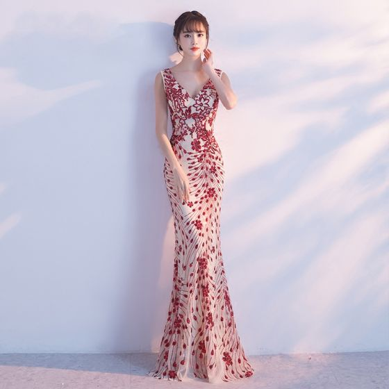 Chic / Beautiful 2017 Evening Dresses  Red Trumpet / Mermaid Evening Party Sequins Handmade  V-Neck Homecoming Formal Dresses