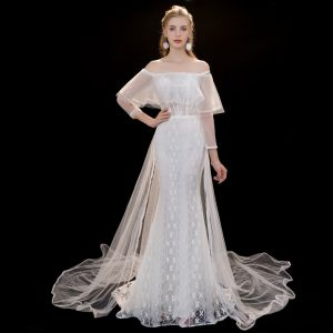 Charming Ivory Wedding Dresses 2019 Trumpet / Mermaid Lace Off-The-Shoulder Backless 3/4 Sleeve Detachable Court Train