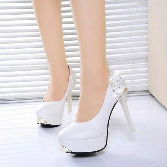 Hermoso Blanco 2017 Zapatos De Mujer PU Gala Rebordear Rhinestone