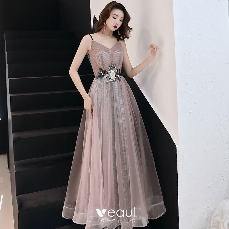 3412e7f6ec Stylowe   Modne Rumieniąc Różowy Sukienki Wieczorowe 2019 Princessa  Aplikacje Z Koronki Spaghetti Pasy Bez Rękawów Bez Pleców Długie Sukienki  Wizytowe