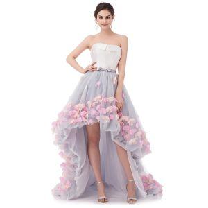 Blomma Fe Grå Balklänningar 2020 Prinsessa Älskling Ärmlös Appliqués Blomma Rosett Skärp Asymmetrisk Ruffle Halterneck Formella Klänningar