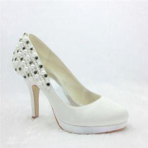 Elegant Ivory Bridal Shoes Satin Stilettos Pumps With Beading Pearl