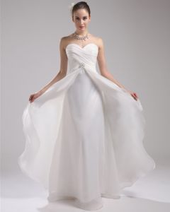 Fashion Organza Charmeuse Pleated Sweetheart Court Train Floor Length Empire Wedding Dress