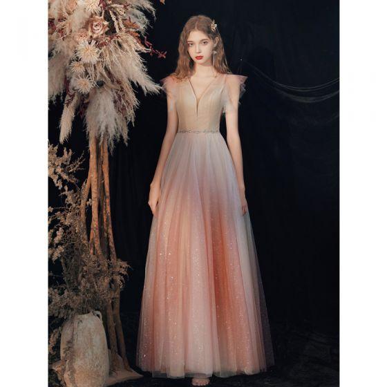 Charming Red Gradient-Color Evening Dresses  2020 A-Line / Princess V-Neck Beading Sequins Sleeveless Backless Floor-Length / Long Formal Dresses