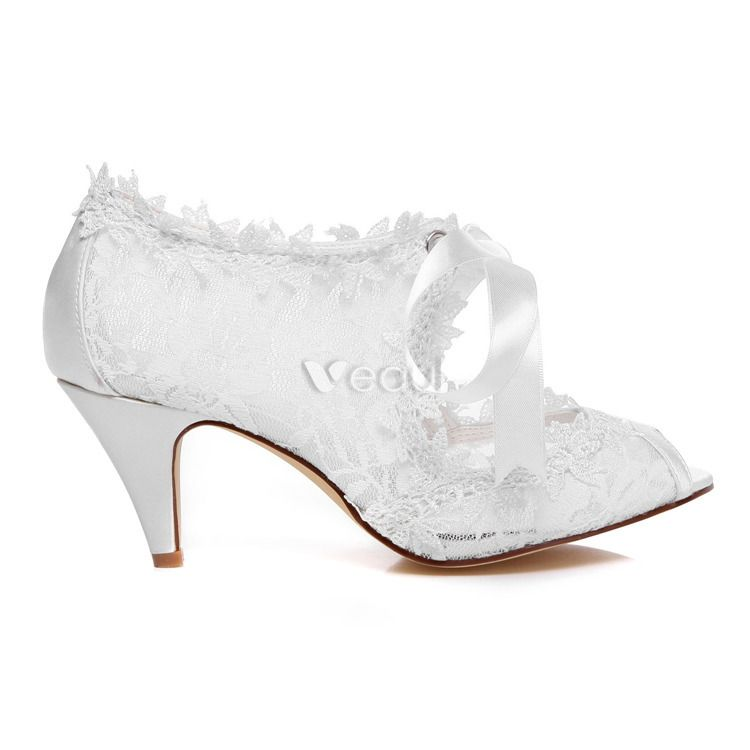 Beautiful Lace Wedding Shoes Stiletto Heels White Bridal