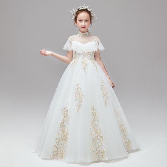 Vintage Ivory / Creme Blumenmädchenkleider 2020 Ballkleid Stehkragen Kurze Ärmel Applikationen Spitze Pailletten Lange Rüschen
