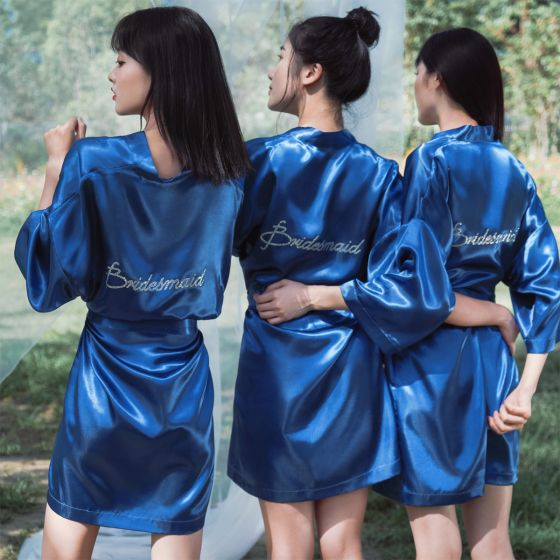 Modest / Simple Royal Blue V-Neck 3/4 Sleeve Bridesmaid Silk Robes 2020 Embroidered Sash