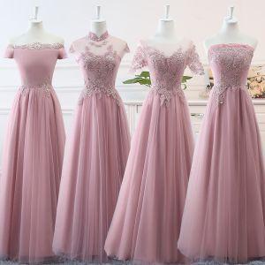 Betaalbare Blozen Roze Bruidsmeisjes Jurken 2019 A lijn Appliques Kant Lange Ruche Ruglooze Jurken Voor Bruiloft