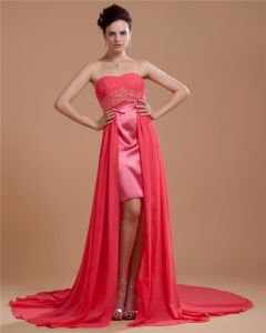 Satin Chiffon Beading Embroidery Sweetheart Asymmetrical A-Line Prom Dresses