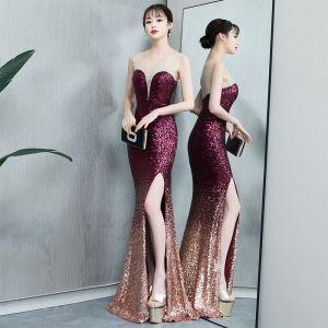 Błyszczące Gradient-Kolorów Sukienki Wieczorowe 2019 Syrena / Rozkloszowane Cekiny Wycięciem Bez Rękawów Podział Przodu Długie Sukienki Wizytowe