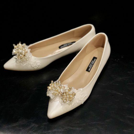 Élégant Ivoire En Dentelle Fleur Faux Diamant Plate Chaussure De Mariée 2020 Cuir Perle À Bout Pointu Mariage Talons