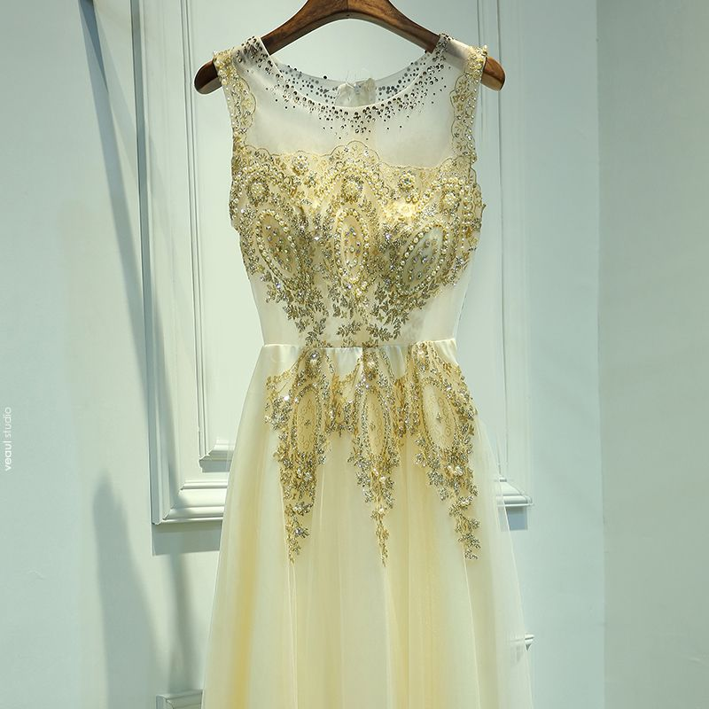 Chic / Beautiful Gold Formal Dresses 2017 A-Line / Princess Lace Flower Beading Sequins Scoop Neck Sleeveless Ankle Length Evening Dresses