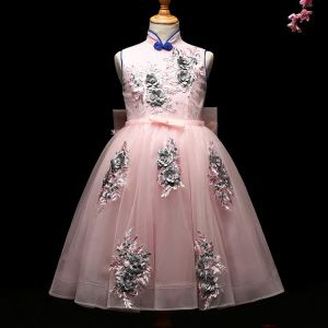 Chic / Beautiful Blushing Pink Flower Girl Dresses 2017 Ball Gown Appliques Pearl Bow High Neck Sleeveless Tea-length Wedding Party Dresses